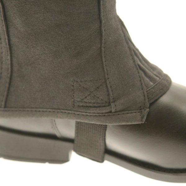 This is a soft and comfortable washable faux suede half chapThe YKK™ zip and elastic panel help provide great shape and fit along with the superior contours of the chap.This chap goes perfectly with our Endurance Riding Trainer and most of our jodhpur boots.Boots sold separatelyProduct supplied may vary from the stock photo used