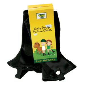 Designed with really young riders in mind, and tested by mini riders, these lycra chaps can be pulled on easily without having to struggle with stiff zips and poppers.These chaps are an innovation by Tuffa.All your child has to do is: Pull the chaps over jodhpurs, put boots on and fasten the elastic stirrup under the foot.As you can see in our pictures, the chaps look no different to any other chap.The ideal present for young riders, these chaps come in pretty packaging with a word search activity on the rear of the label. The chaps come in sizes extra small (XS) to extra-large (XL) for slightly older riders who don't like zips!UK Design Registered D4024504 Fabric: LycraFastener: None - you pull them on!Additional features: Reinforced elastic stirrup, amara reinforcement on calfColours: Black and PurpleSizes: Extra Small - Extra Large