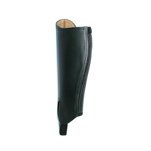 A soft versatile full grain leather gaiter that has a superb amount of stretch. With a double reinforced elastic stirrup strap and leather lining. This elegant looking gaiter is a must for the more discerning rider, ideal for showing.Especially cut for a closer fit. Ideal for the plus size calf fittings.They make a super combination with our Polo Jodhpur boot and provide a show finish when worn together. Outer: Soft Cow LeatherLining: LeatherFastener: YKK™ heavy duty zipAdditional features: Reinforced elastic stirrup, super-stretch panel, brass popper, rolled leather finishSizes: XX Small - XX Large