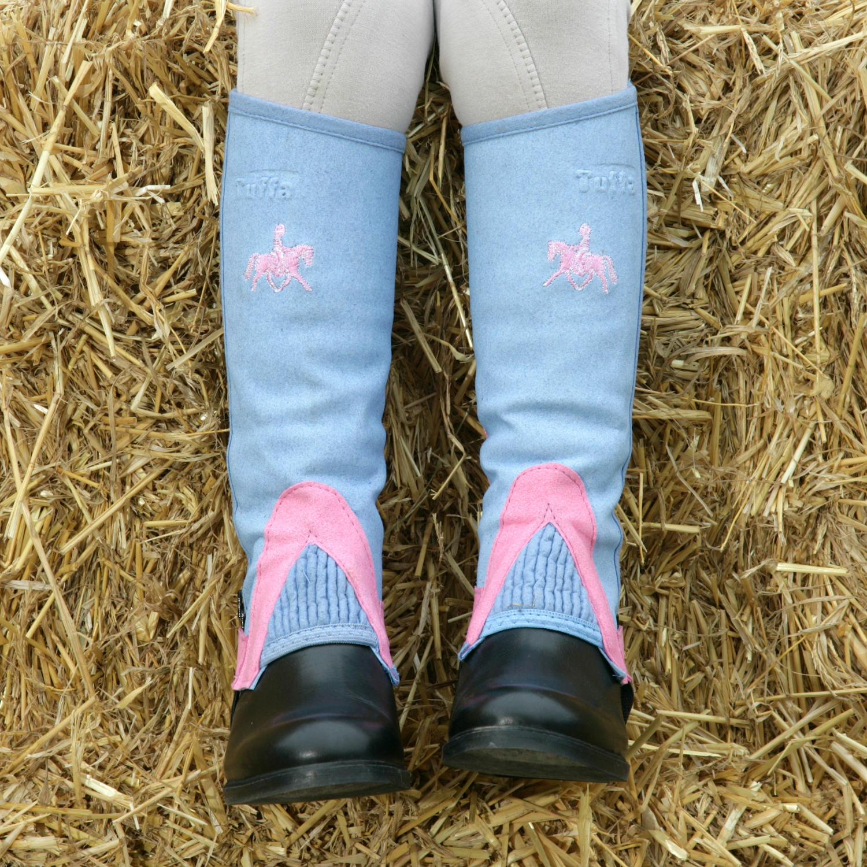 Tuffa Shetland Amara CHILDRENS Half Chaps baby blue child size SMALL pink